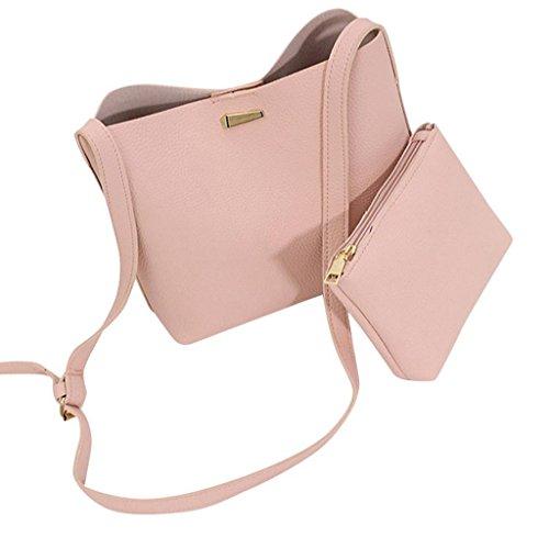 Tongshi 2pc moda mujeres Simple mensajero bolsas bolsas Mini mujeres bolso de hombro (vino)