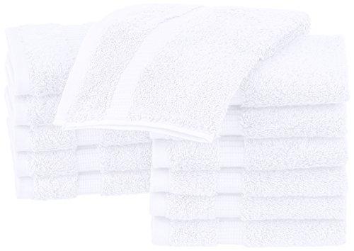 PINZON Waschlappen aus Biobaumwoll-Mischgewebe, 12er-Pack, Weiß