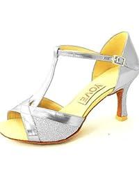 shangyi métrica gefertigter tacón–Glitter–Latin/Salsa/estándar de danza–Zapatillas de mujer Gris gris Talla:us8.5 / eu39 / uk6.5 / cn40 71L0xLh2sx