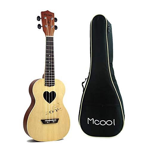 Ukulele a 4 corde, 58,4 cm, foro a forma di cuore, abete da concerto, tastiera in palissandro, mini ukulele hawaiano Uke with Bag