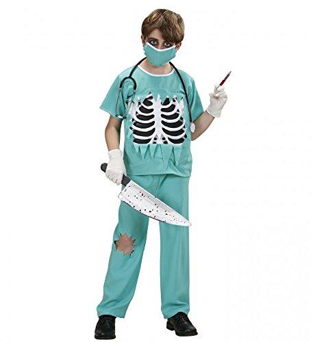 Halloween Tot Chirurg Kostüm (Schauriger Chirurg Kostüm für Kinder Jungen Halloween Arzt Kinderkostüm, Kindergröße:140 - 8 bis 10)
