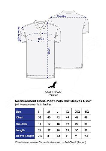 AMERICAN CREW Men's Polo Black & Charcoal Melange Stripes T-Shirt - 4XL (AC166-4XL)
