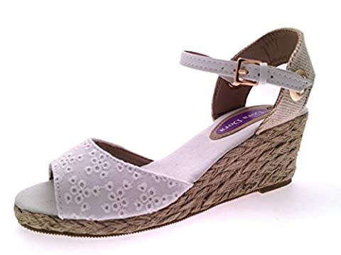 Lora Dora Womens Hessian Wedge Sandals Ladies Strappy Summer Shoes Peep Toe White Broderie Anglaise Beach Shoes Size UK