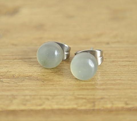 Jade Light Green Gemstone Surgical Steel Stud Earrings