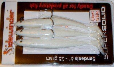 TraceAce Köder-Packung, 3 Stück, 15,2cm, Sidewinder Sandaal, Weiß (Ghost White), Köder für Kabeljau und Seebarsch (Sidewinder 3 Stück)