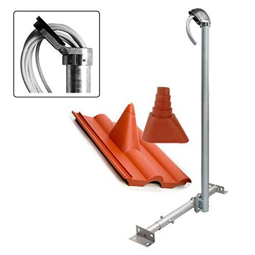 PremiumX Basic X120-48 SAT TV Dachsparrenhalter 120cm Mast Dach-Sparren-Halterung für Satelliten-Antenne Satellitenschüssel | Dachabdeckung rot | Kabeldurchführung ALU-Mastkappe - Dach-antenne-tv