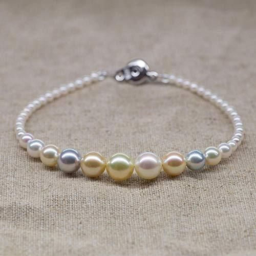 Lnyy Collar de Perlas Japón AKOYA Collar de Perlas de mar Collar de Perlas de Color Caramelo Mezclado Nylon