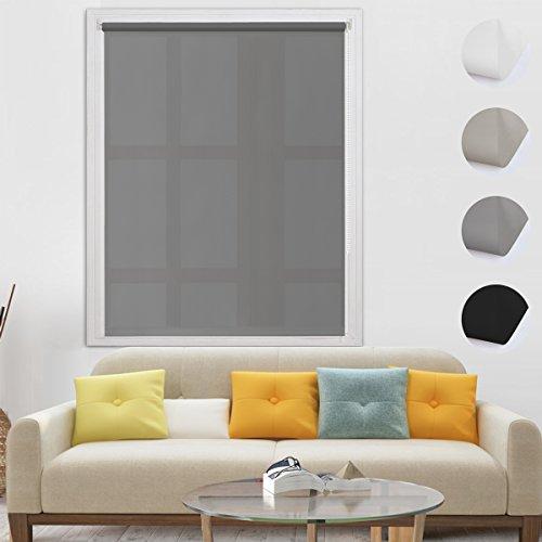 BelleMax Estor Enrollable Translúcido sin Taladrar Cortinas Persianas Fácil de Instalar para Ventanas y Puertas Gris 80x160 cm