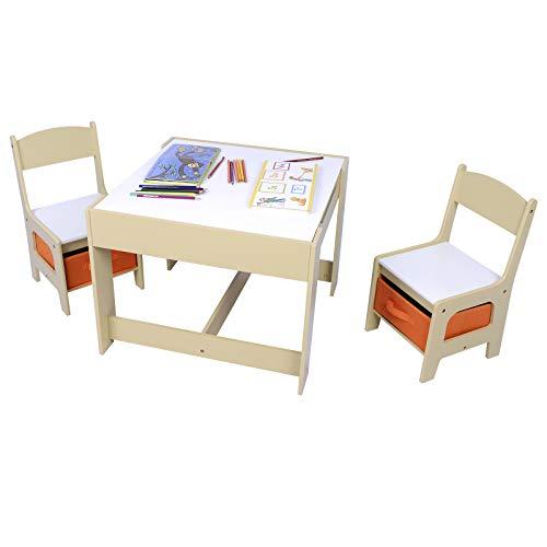 Woltu 3 uds. Grupo de Asientos para Niños Mesa y 2 Sillas con Espacio de Almacenamiento para Juegos de Niños en Edad Preescolar Muebles para Niños SG002