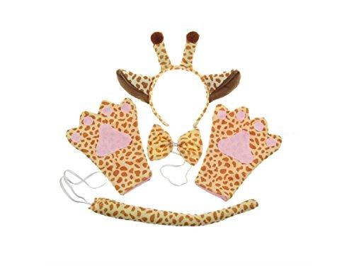 (BHYGHuj Haus Dekoration 4 Teile/Satz Kind Halloween-kostüm Giraffen Stirnband Tie Tail Handschuhe für Party Dekoration (Giraffen))