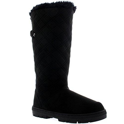 Damen Quilted Twin Strap Back Tall Pelz Gefüttert Schnalle Winter Schnee Regen Stiefel - Schwarz - BLA40 AEA0389 (Schwarze Regen Gesteppte Stiefel)