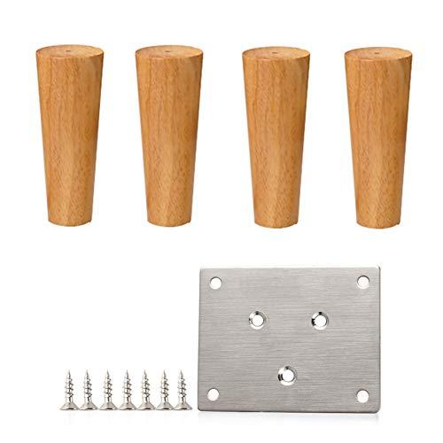 Möbelfüße 4 Stück Eiche Stützbeine Massivholz,Sofa TV-Schrank Bett Schrank Beine verdickte,Sich verjüngende,Ersatz Beine(8-80cm) -