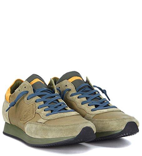 Philippe Model Basket Tropez en Peau Suède Verte Olive Vert