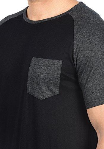Indicode Gresham Herren T-Shirt Kurzarm Shirt Rundhalsausschnitt Brusttasche Aus Hochwertiger Baumwollmischung Meliert Black