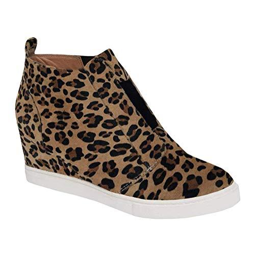 Minetom Damen Stiefeletten Plateau Wildleder Leopardenmuster Loafers Mokassins Plattform Halbschuhe Sneaker mit Keilabsatz Casual Bequem Schuhe A Leopard EU 37 -