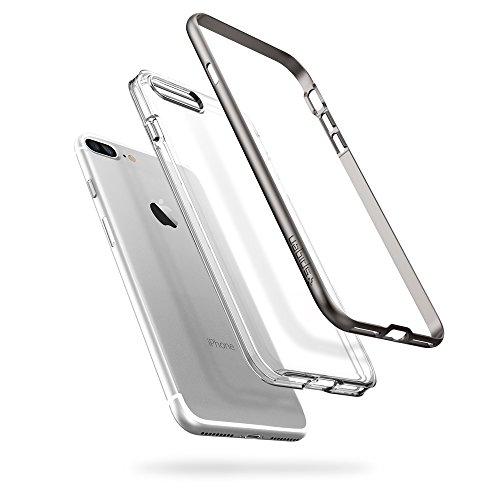 iPhone 7 PLUS Hülle, Spigen® [Neo Hybrid Crystal] Dual-Layer Schutzrahmen [Mint Grün] Metallisierte tasten / Durchsichtige TPU Schale + PC Rahmen Schutzhülle für Apple iPhone 7 PLUS Case Cover - Mint  Grau, Transparent
