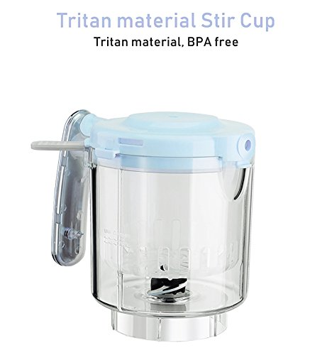 Kiddale Baby Food Processor Accessory- Tritan Stir Cup Set with Steam Basket and Blade-Blue
