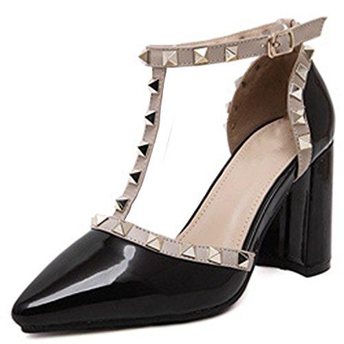 Oasap Women's Pointed Toe T-strap Rivet Chunky Heels Pumps Black