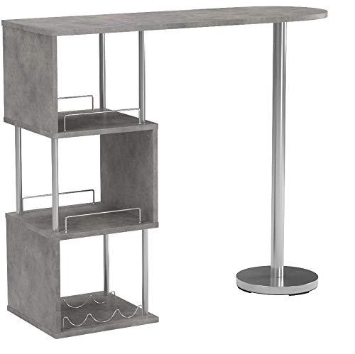 Meubletmoi Hohe Tisch-Bar Comptoir du Arbeitsplatte Effekt Beton und Metall-isst stehend-Regale Aufbewahrung Küche-Milos