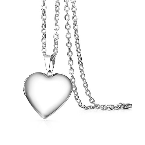 Cupimatch Herz Medaillon zum Öffnen für Bilder Foto Anhänger Kette Damen Amulett Herren Halskette Edelstahl Aufklappbar, mit 45cm Kette, Silber
