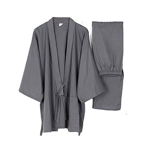 Männer Japanische Stil Robes Loose Pure Baumwolle Kimono Pyjamas Anzug-Grau -