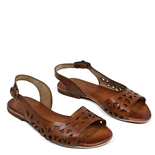 In Time Sandali Bassi Traforati Flat Donna Vera Pelle Cuoio 0417 Made in Italy