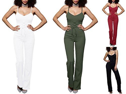 Bigood Femme Uni Combinaison sans Manche à Bretelle Lacet Pantalon Jambe Large Vert darmée