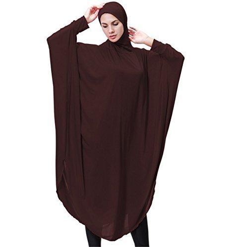 Dreamskull Damen Frauen Hijab Muslime Abaya Dubai Kleider Muslimische Islamische Kleidung Arab Arabisch Indien Türkisch Casual Abendkleid Kaftan A Linie Dress Mit Kopftuch Mehr Farben (XL, Braun) Braun Muslimische Hochzeit Kleider