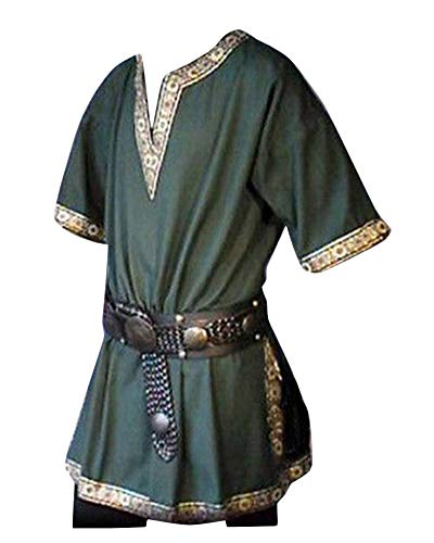 LiangZhu Herren Steampunk Kurze Ärmel Gothic Mittelalterliches Renaissance Jacke Cosplay Uniform Ohne Gürtel Grün L
