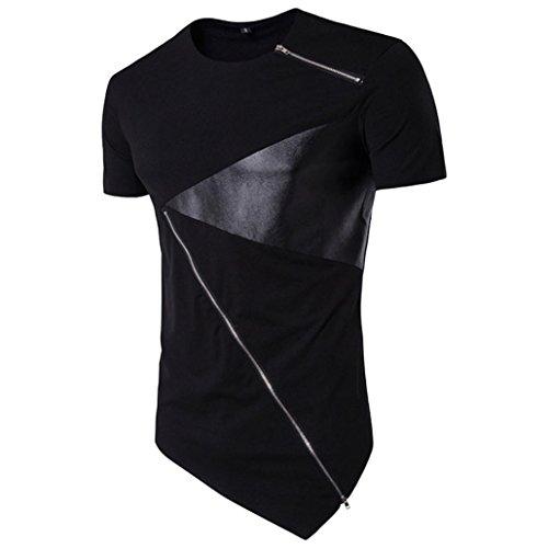 Kanpola Sport T-Shirt Herren Unregelmäßige Polyester Kurzarm Hedging Slim Fit Bluse für Jogging Yoga Männer Tops (XL/52, E-Schwarz) (Studio Bluse)