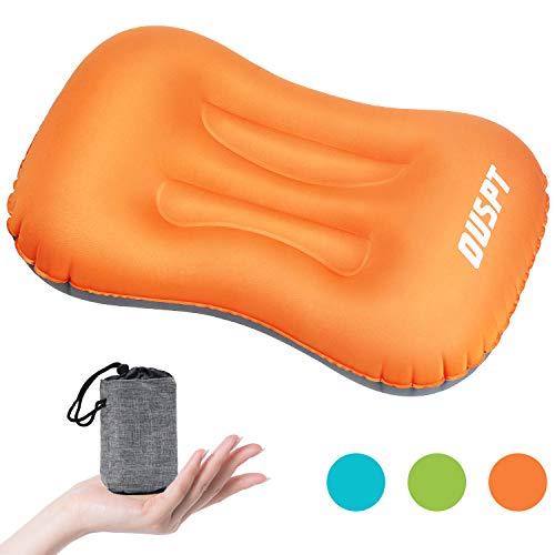 Aufblasbares Camping Kissen,Aufblasbares Kopfkissen,Leichtes Reisekissen Luft-Kissen,Camping Pillow für Camping, Reise, Draußen Bequemen Schlaf Kissen … (Orange)