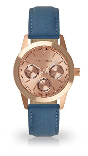 YVES CAMANI MADELAINE Women's Wrist Watch Quartz Analog Rosegold Stainless Steel Case Rosegold Dial (Leather - Light Blue)
