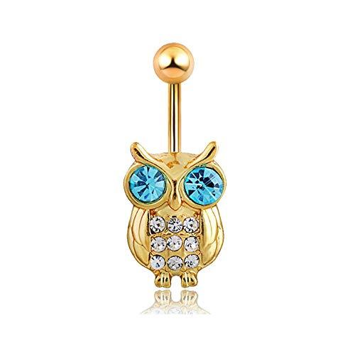 VCB Blauer Kristall Retro Eule baumeln Nabel Ring Bauch Piercing Kit Bauchnabel Ringe - Gold