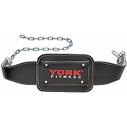 York Fitness - Cinturón con Cadena para musculación, Color Negro