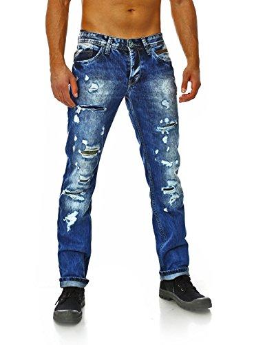 Amica Herren denim Jeans Hose straight legs gerade schmale Passform vintage used destroyed look 002 Blau