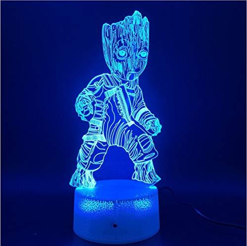 Optische Täuschungslampe Neuheit Beleuchtung Marvel-Comics Wächter der Galaxy Groot-Figur Led Nachtlicht carck Touch-Schalter -