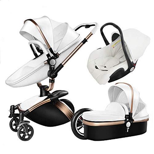 Shisky Passeggini,Sospensione Pieghevole Alta Vista Baby Passeggino in Pelle a Due Vie Auto 360 Gradi può sedersi in Auto Bambino