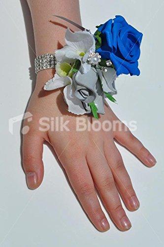 und Grau Rose und Weiß Hortensie Hochzeit Handgelenk Corsage ()
