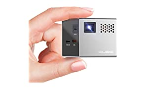 RIF6 Cube 2-inch Mobile Projector with 20,000 Hour LED Light and 120-inch Display, Portable, Rechargeable, includes HDMI Cables and Tripod