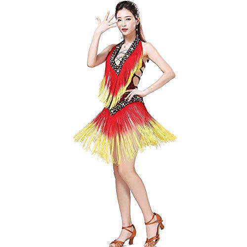 Tribal Kostüm Für Verkauf Dance - ZDAMN Bauchtanz Rock Frauen Sleeveless Deep V Lace-up Leopardenmuster Pailletten Quaste Latin Dance Kleid Bühnenkostüme Bauchtanz-BH und Gürtelset (Farbe : Rot, Größe : Einheitsgröße)
