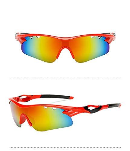 Yiph-Sunglass Sonnenbrillen Mode Im Freiensport-Mannfrau Fahrer, der Sonnenbrille-Sonnenbrille-Nachtsichtspiegel-Sportglas-Gezeiten fährt explosionssichere Gläser fährt (Color : Red)
