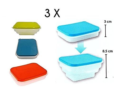3boîtes repas sandwich en plastique pour enfant pliable pour
