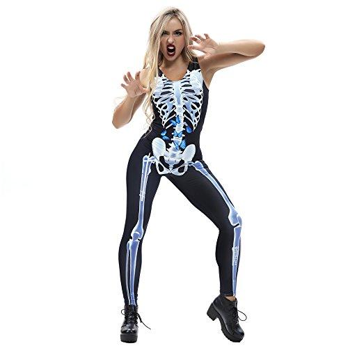 (URVIP Damen-Skelett Knochen Punk Sexy Strampler Skelett Body Anzug Kostüm BEM-011 L)