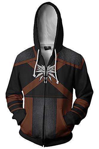 The Witcher Geralt of Rivia Pulli Kapuzenpulli Cosplay Kostüm Schwarz XL