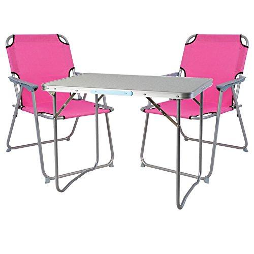 Mojawo  3tlg. Campingmöbel Set Alu Camping L70xB50xH59cm 1x Campingtisch mit Tragegriff + 2 Campingstühle pink Stoff Oxfort
