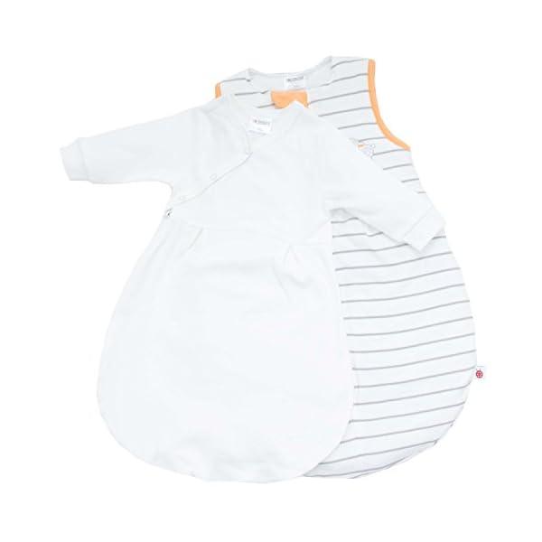 Coconette Saco de dormir bebé todo el año – 2 Piezas: saco exterior forrado y saco interior de manga larga | Forma de pera, sin costuras – Talla: 3-6 meses (62/68), a rayas begie