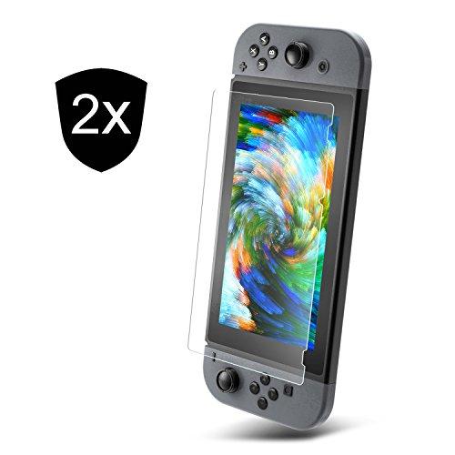 UTECTION 2X Cristal Templado Nintendo Switch 2017 Protector de Pantalla 9H ** Máxima Protección Anti-Golpes ** Sin Burbujas ** Vidro Templado Cristal Blindado Nintendo Switch Transparente