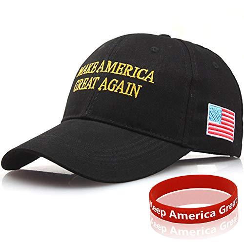 Sumyer MAGA Trumpf Hut, Donald Trump Cap, halten amerikanischen großen Hut Trump 2020 mit Armband (MAGA-Black) -