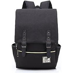 Minetom Casual Escuela Unisex Moda Vintage Mochila Backpack Rucksack Mochila Escolar para Ordenador Portátil Negro 16 Pulgada