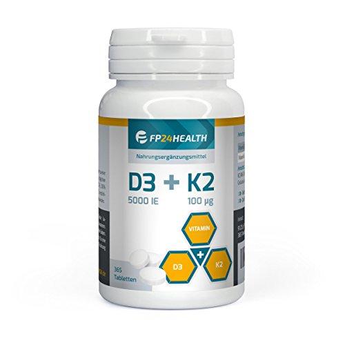 FP24 Health Vitamin D3 + K2-365 Tabletten - Vitamin D3 5000 IE - Vitamin K2 100µg - Hochdosiert - Menaquinon MK-7 - Made in Germany